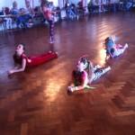 Girls stretching