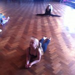 Lucy and Ella stretching